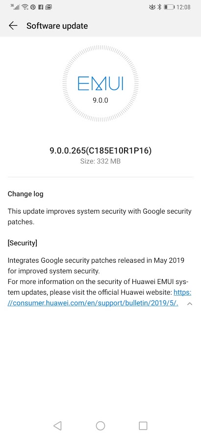 Huawei Mate 20 Pro May 2019 security update