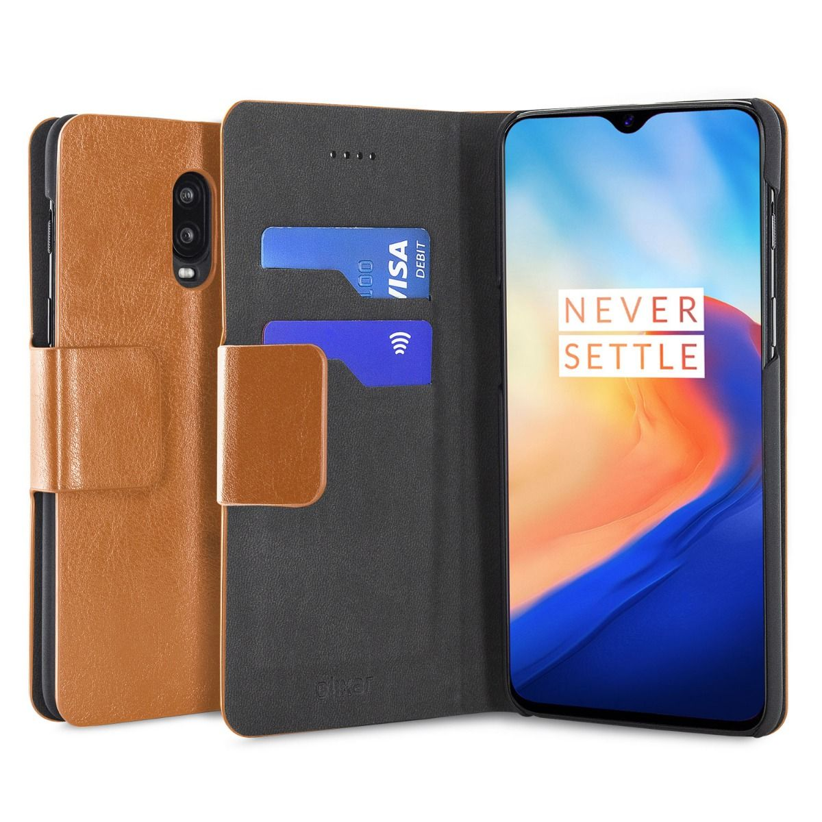OnePlus-6T-Olixar-Leather-style-wallet-stand-case