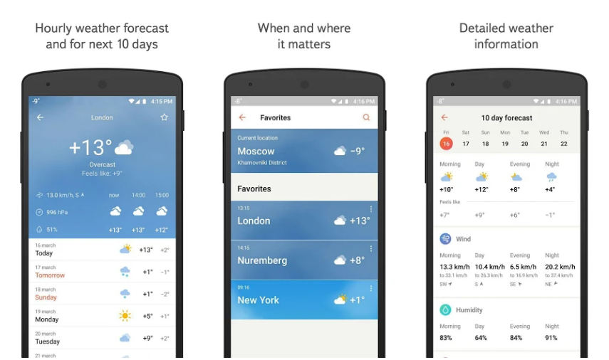 أفضل 10 تطبيقات مفضلة للطقس لسنة 2019