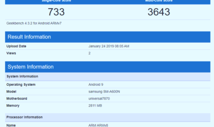 [Update: A6+ too] Galaxy A6 visits Geekbench running Android Pie ahead of March release date