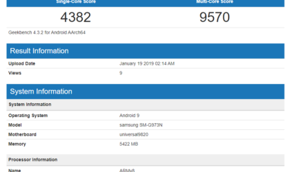 Samsung Galaxy S10 spotted on Geekbench with Exynos 9820 and 6GB RAM