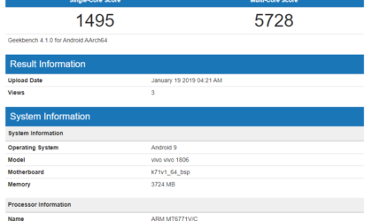 Android 9 Pie for Vivo V11 spotted on Geekbench