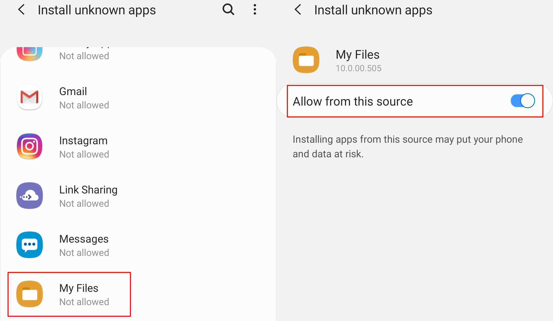 How to allow apps installation from unknown sources on