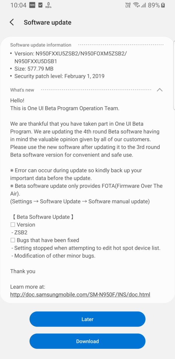 Galaxy Note 8 Pie beta 4