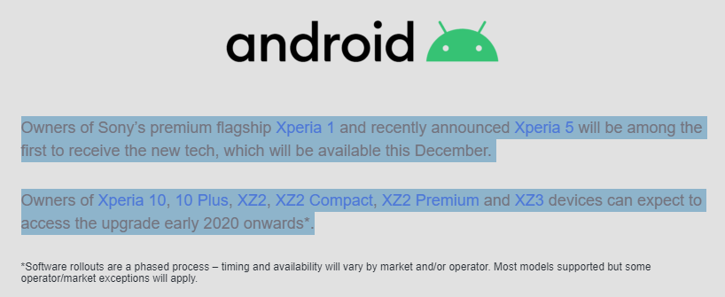 Sony Android 10 release date