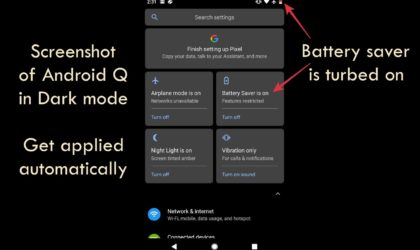 Android Q feature: Turning on Battery Saver enables Dark Mode automatically
