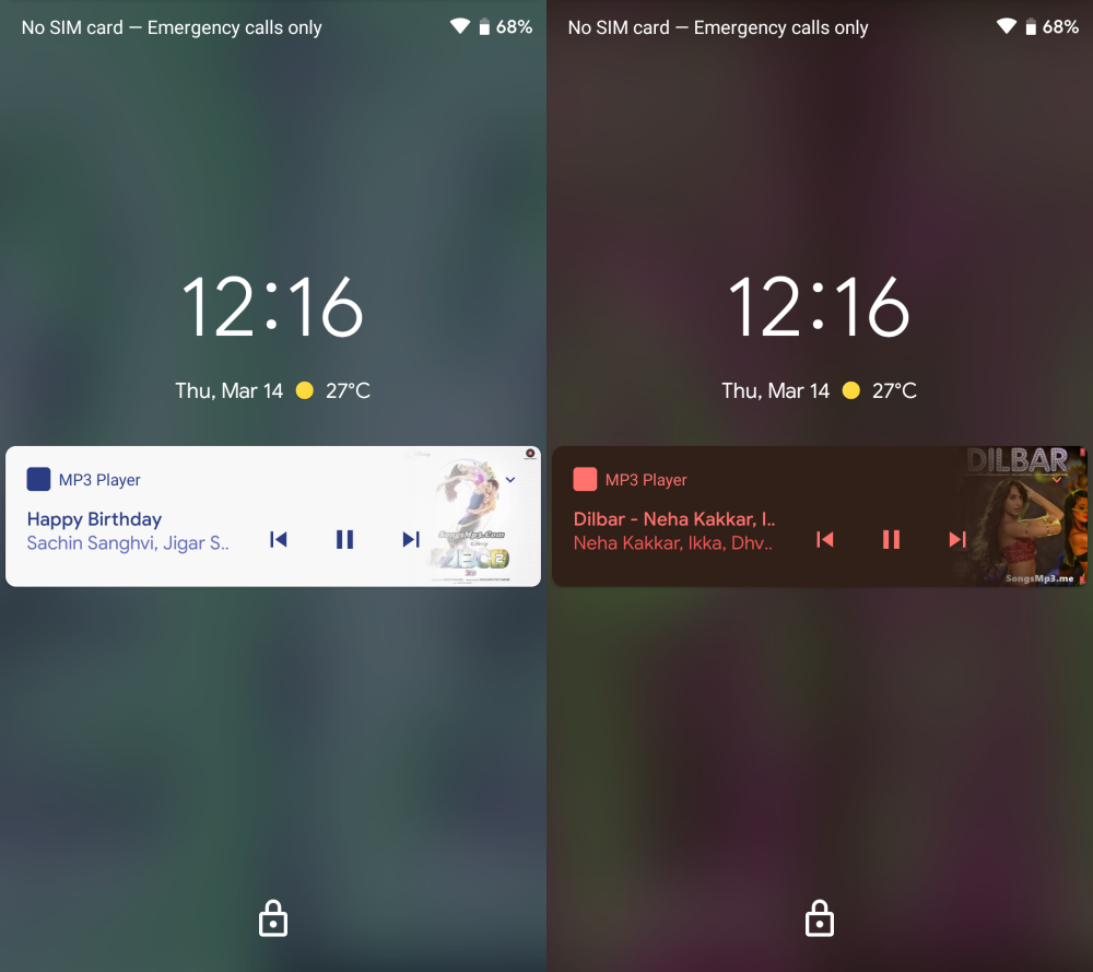 Android Q blurred lock screen music playing