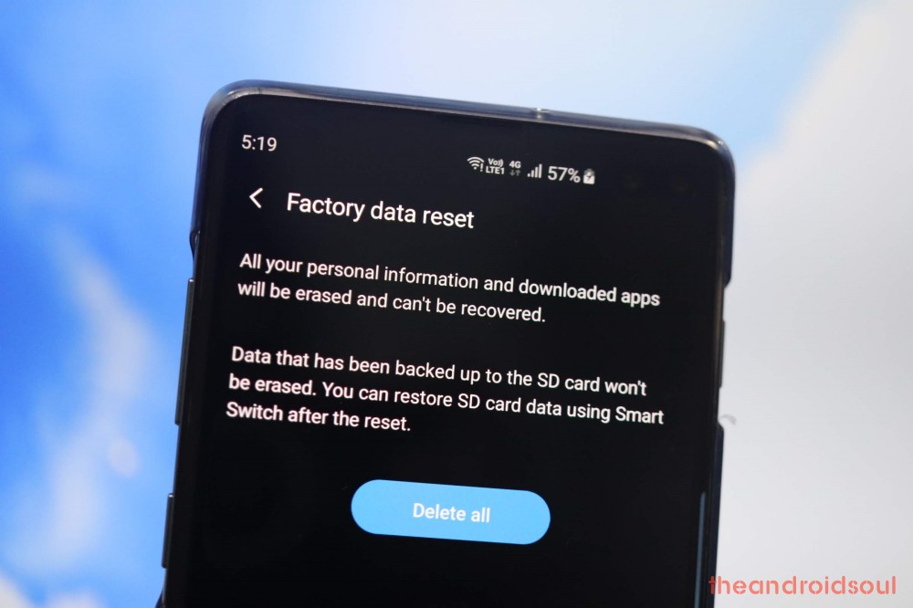 Galaxy S10 factory reset