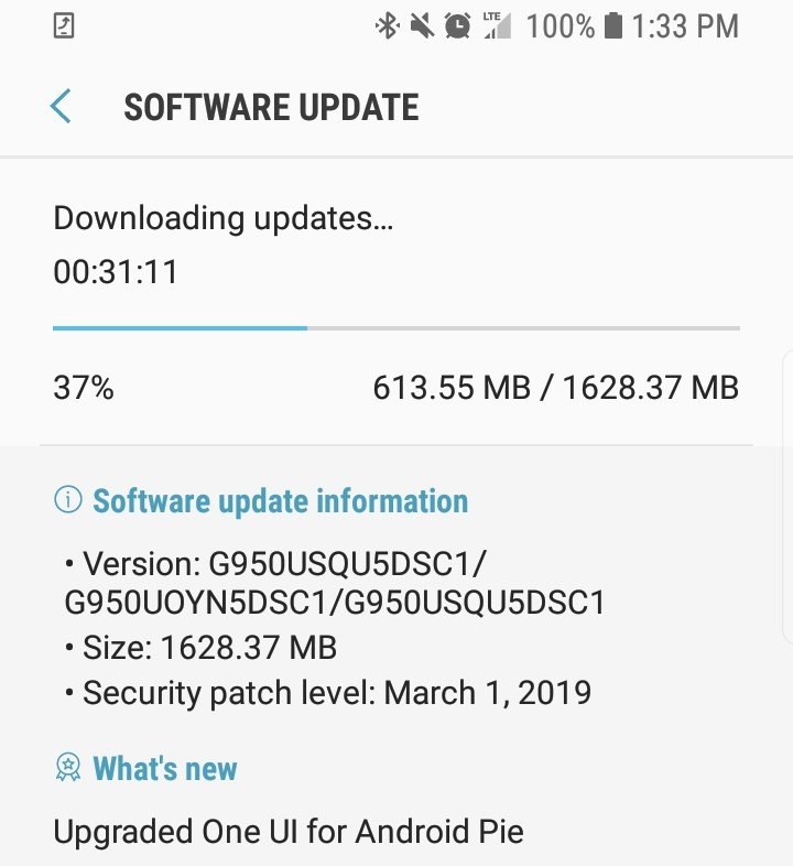 Samsung Galaxy S8 Pie update Boost Mobile