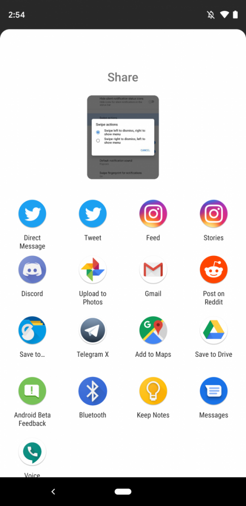 Android Q Beta 2 Share Menu