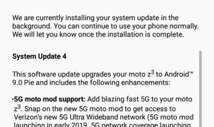Verizon releases Moto Z3 Android 9 Pie update!