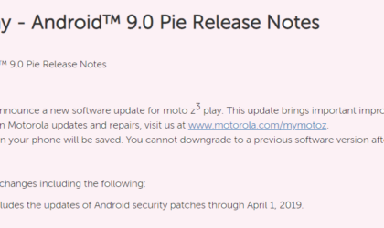 Motorola announces Android 9 Pie update for Moto Z3 Play in the U.S.