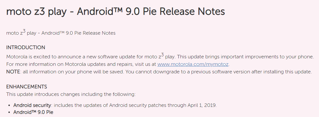 Moto Z3 Play Android Pie update USA