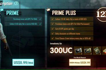 PUBG subscription pricing