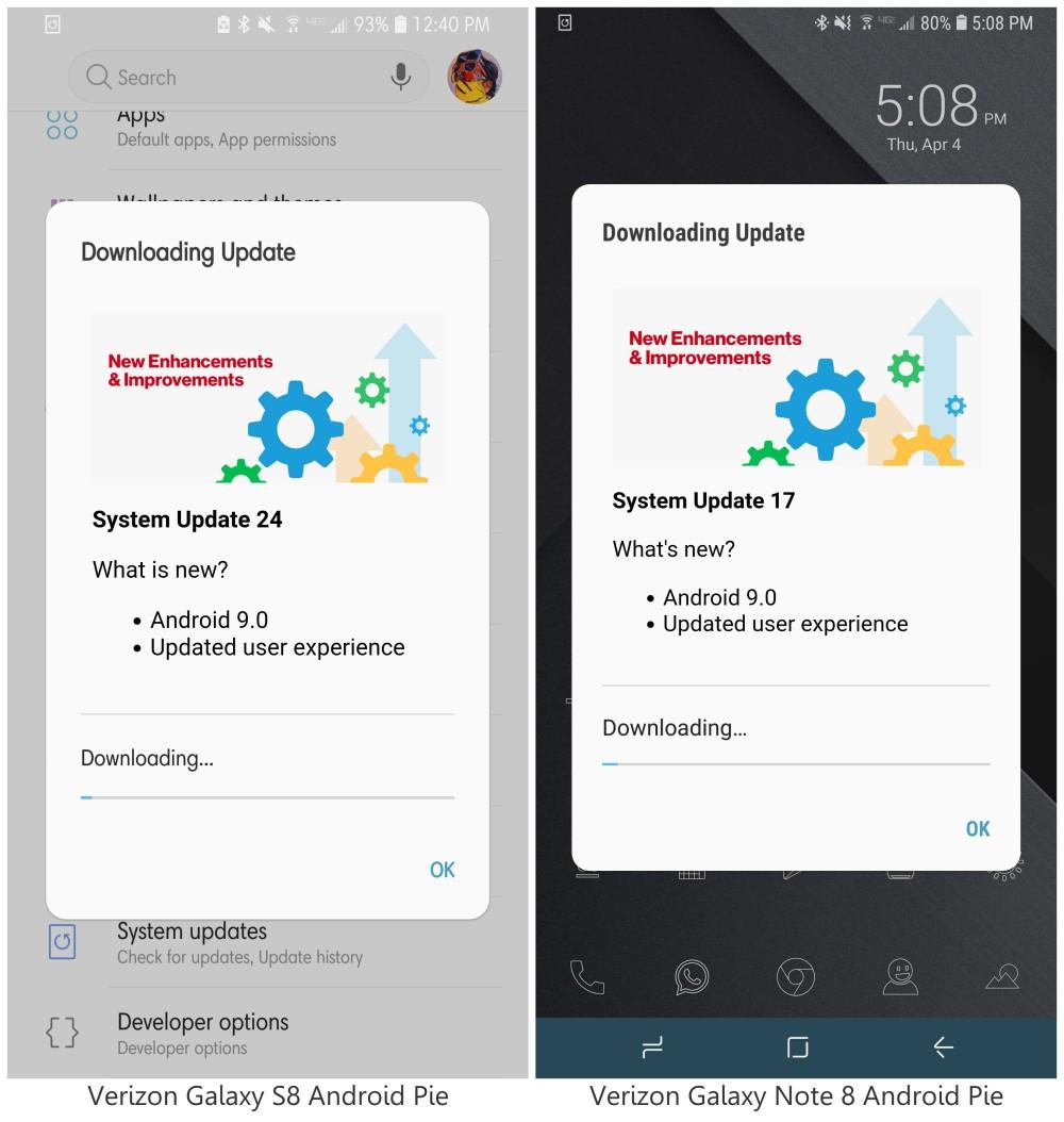 android pie update samsung s8 verizon