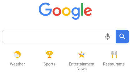 Google's mobile homepage now features a mic button for Voice search