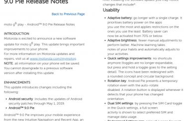 Moto G6 Play Pie update USA