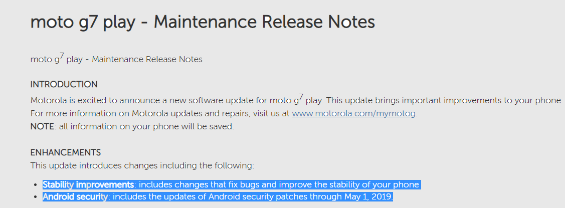 Moto G7 Play May 2019 security patch