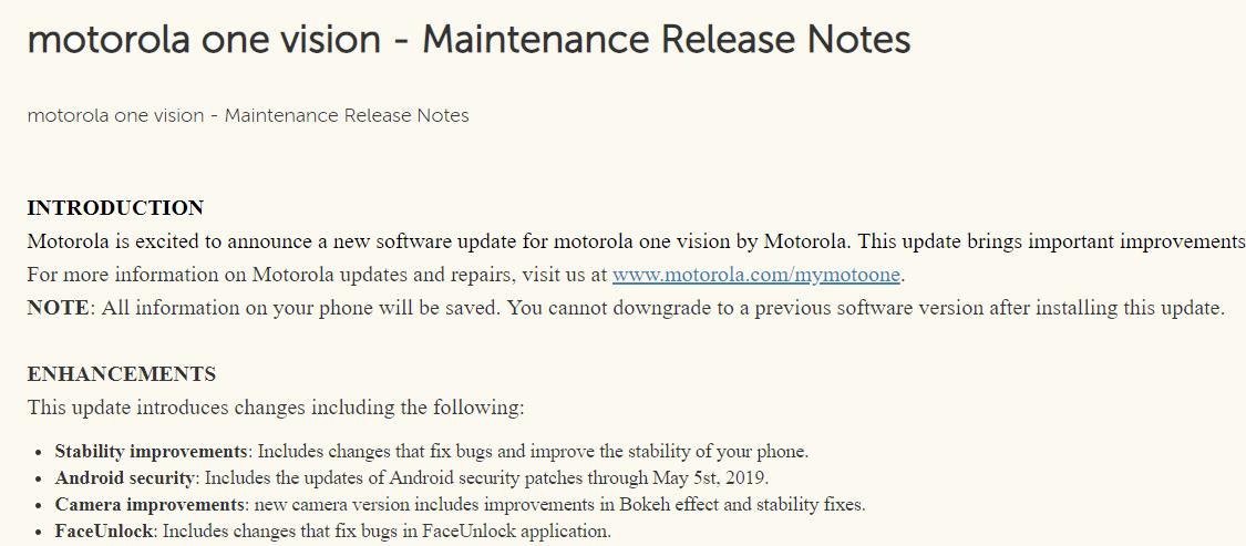Motorola Moto One Vision first update UK