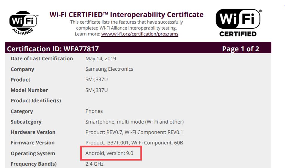 Samsung Galaxy J3 2018 Pie update