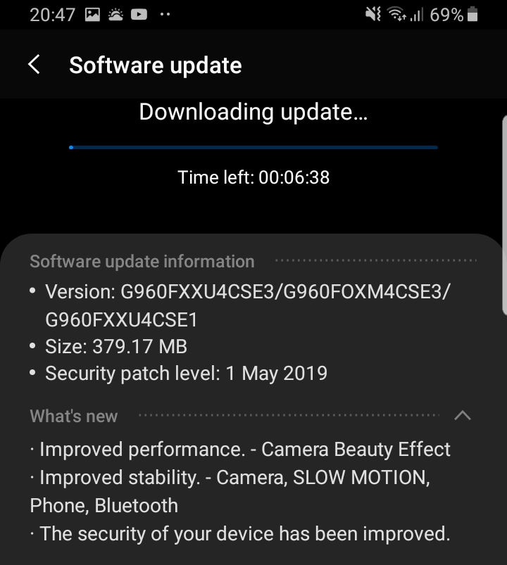 Samsung Galaxy S9 May patch 2019 UK