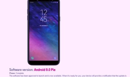 T-Mobile releases Samsung Galaxy A6 Android 9 Pie update