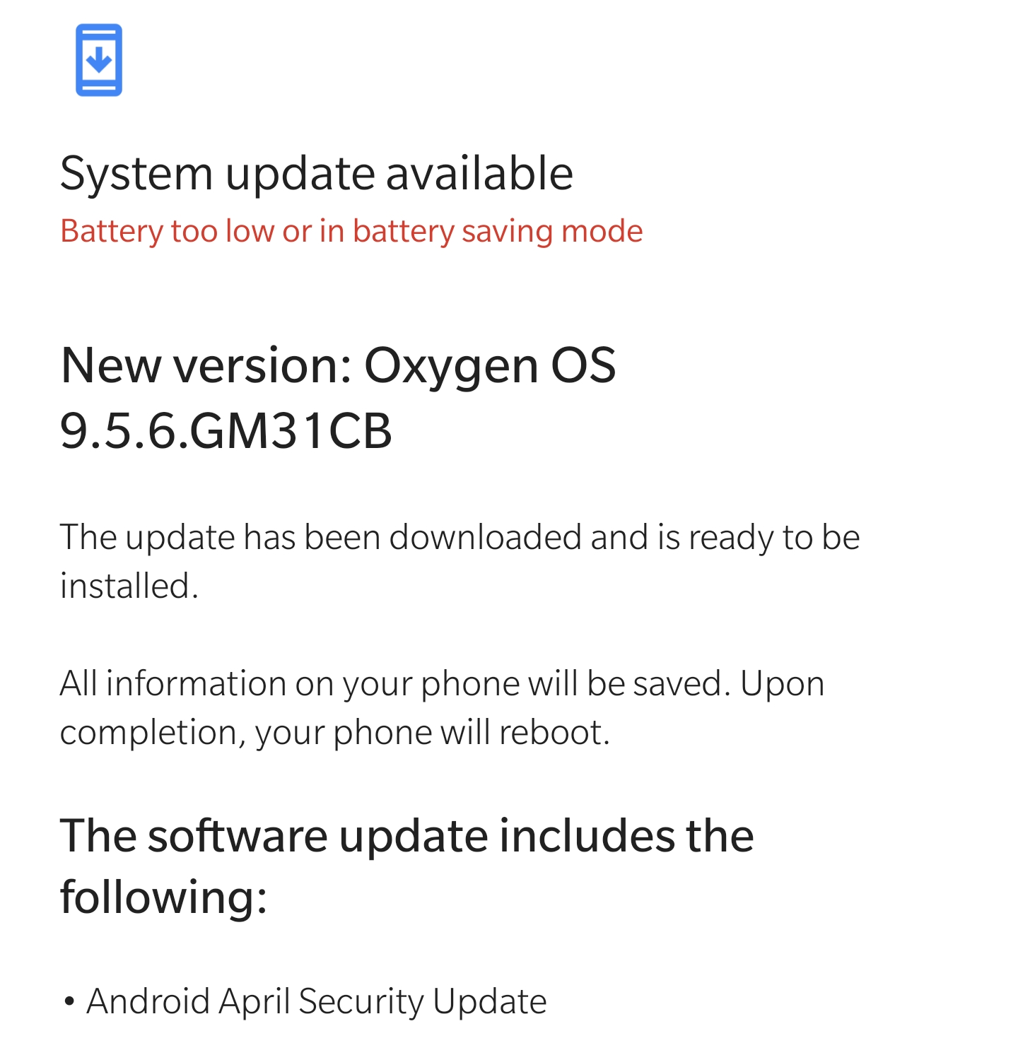 A new T-Mobile OnePlus 7 Pro update available, but without