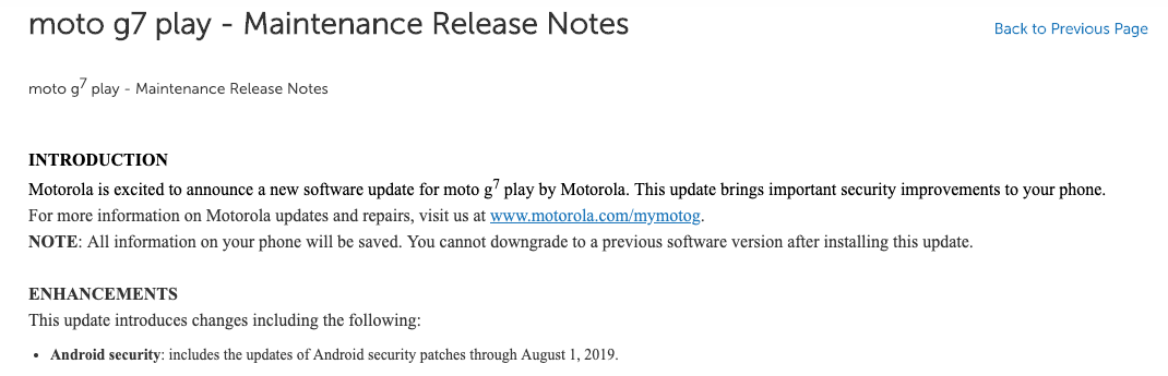 Moto G7 Play August Security Patch Release Notes