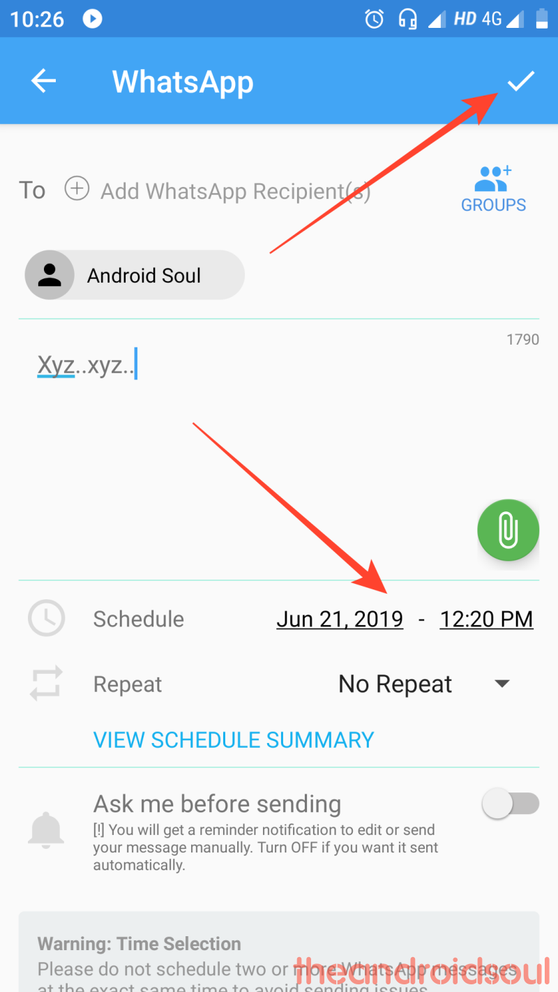 whats app message scheduling step (4)