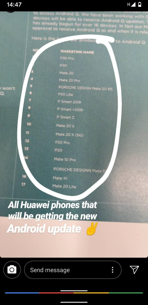 Huawei Android Q roadmap