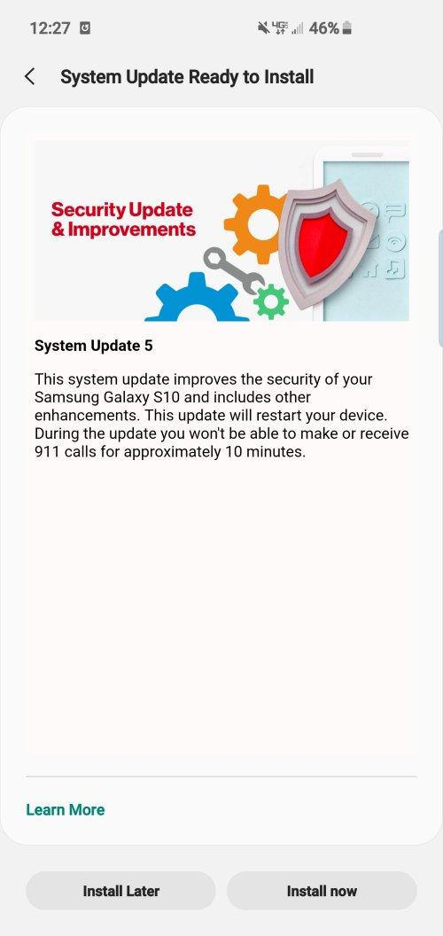 New Verizon S10 update