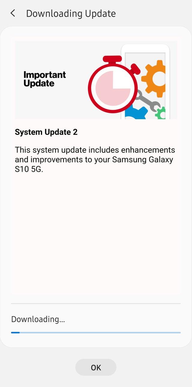 Verizon Galaxy S10 5G update