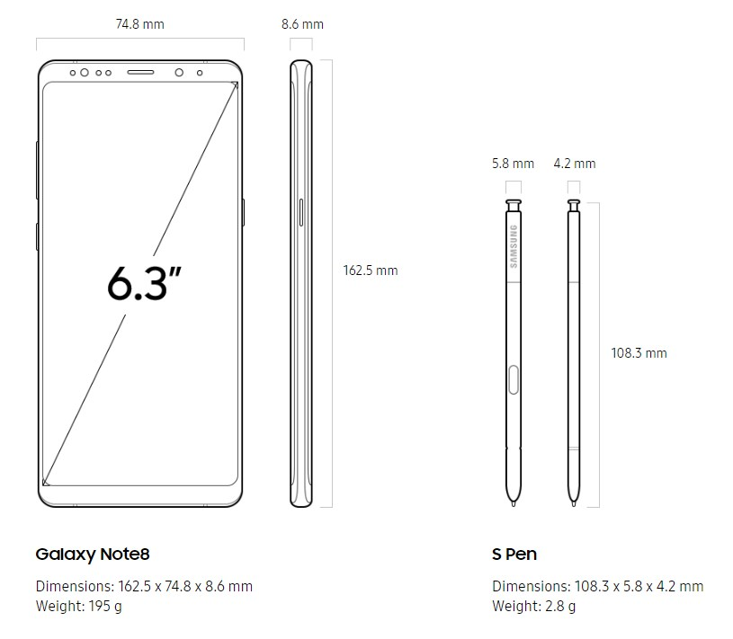 Galaxy Note 8 dimensions and weight