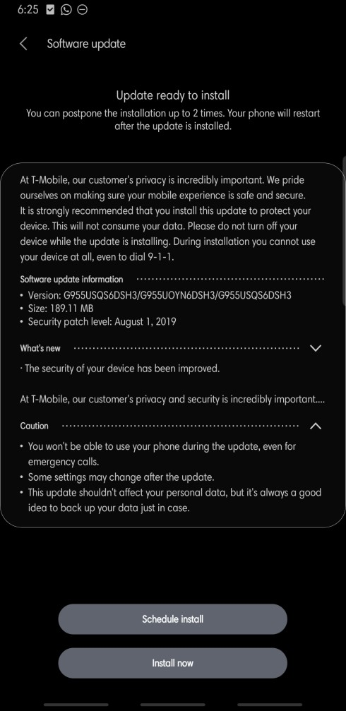 T-Mobile S8 August security update