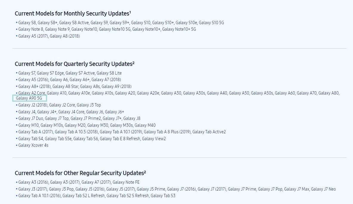Galaxy A90 security update