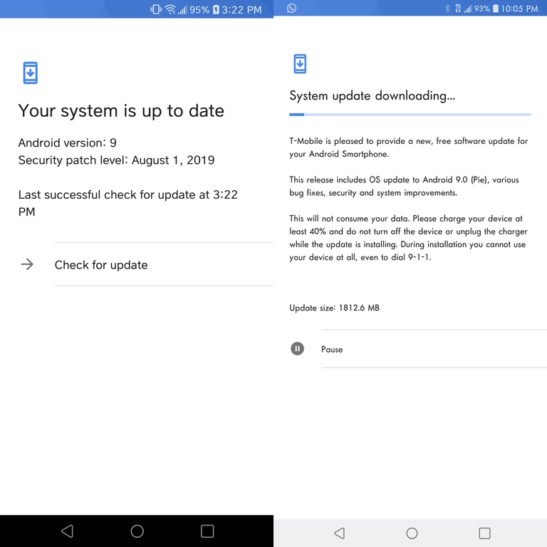 T-Mobile V30 Android Pie rollout