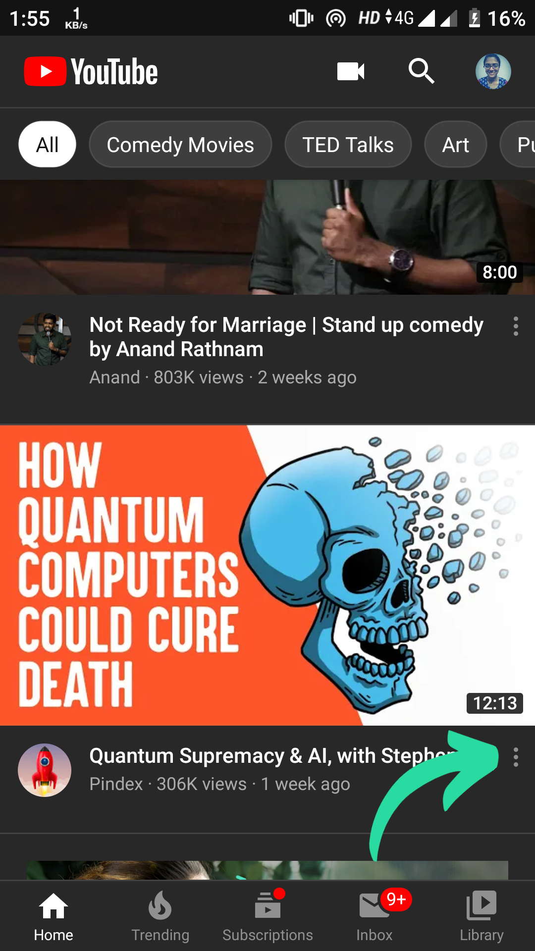 youtube: menu button