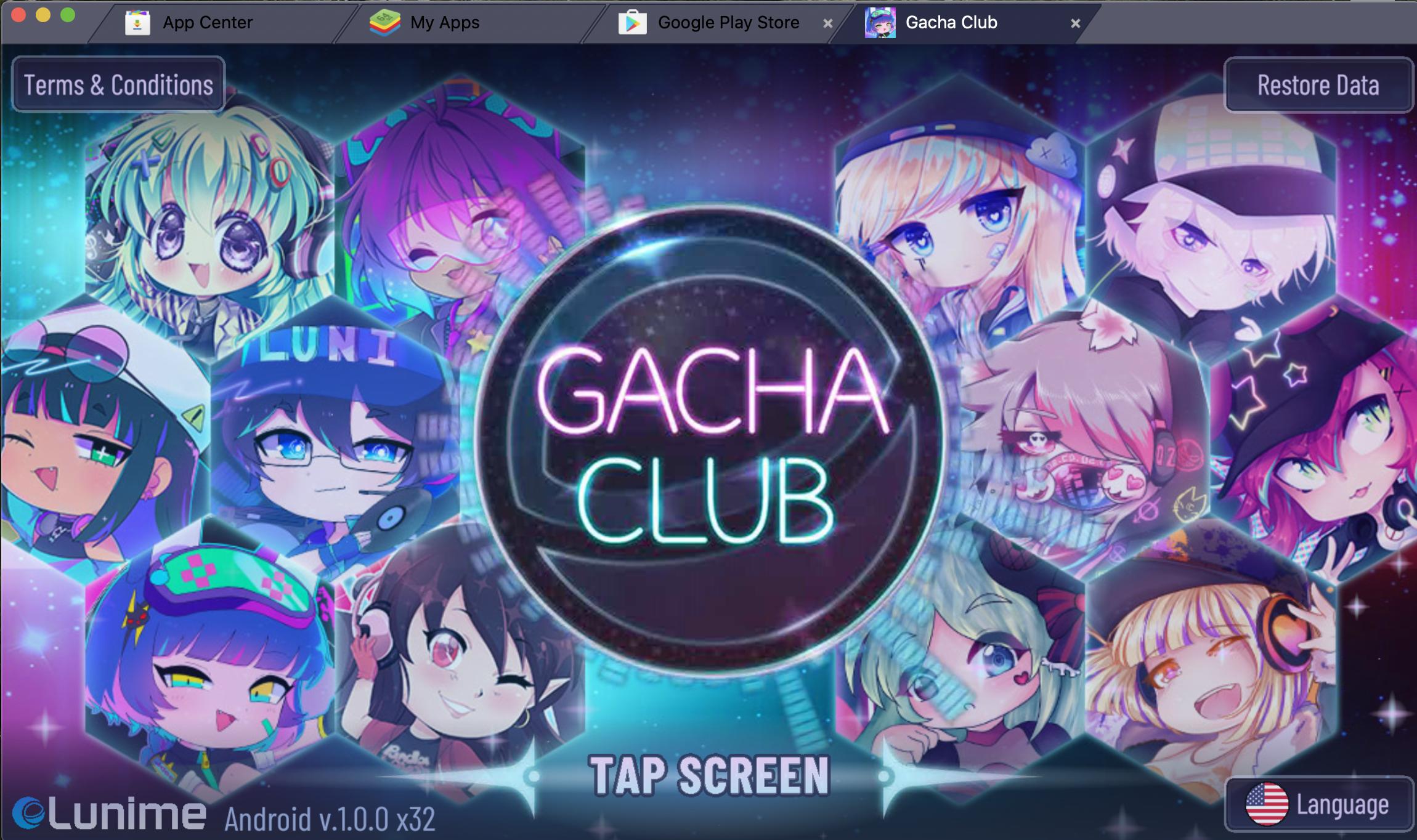 Bluestacks Screenshot showing Gacha Club splash page