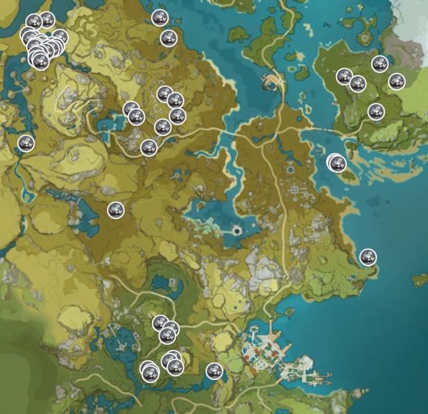 Genshin Impact White Iron Chunk Ore Map Liyue