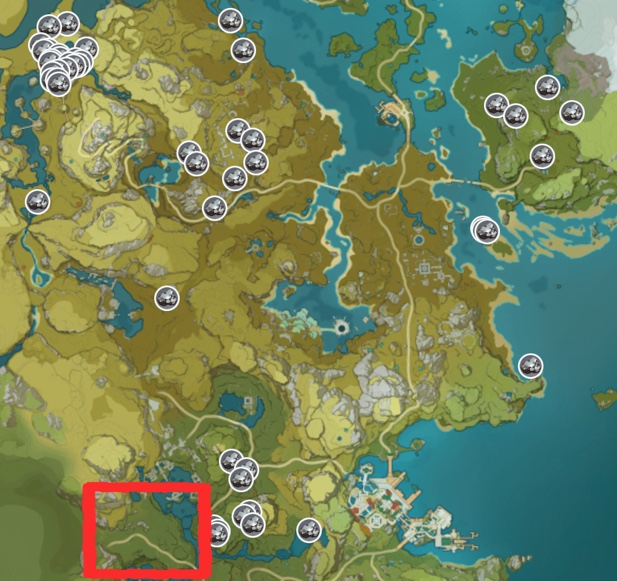 Genshin Impact White Iron Chunk Ore Map The Chasm Highlighted