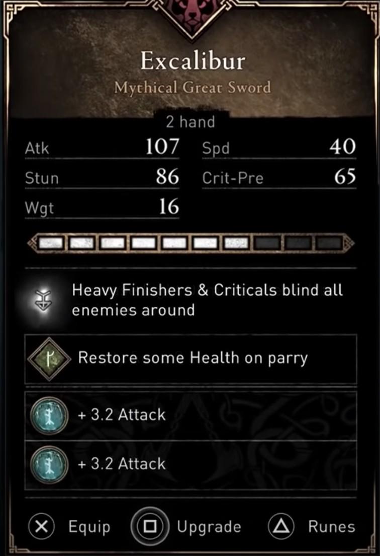 AC Valhalla Best Weapons - Excalibur Stats Excalibur Location
