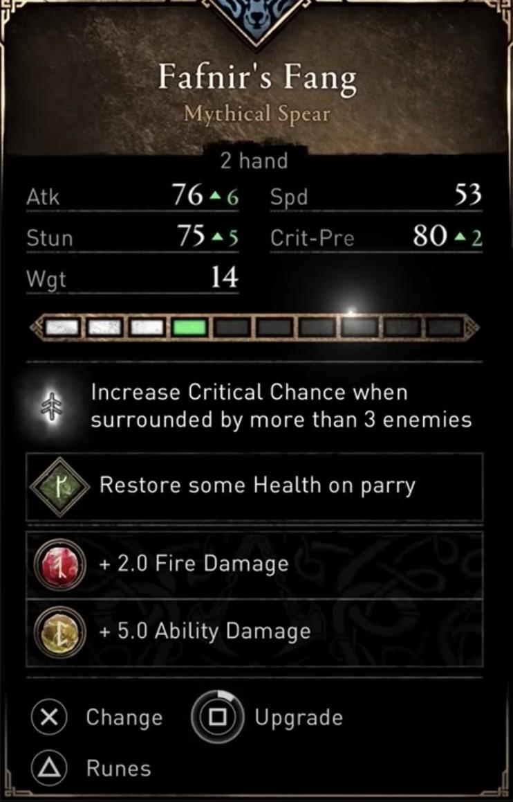 AC Valhalla Best Weapons - Fafnir's Fang stats