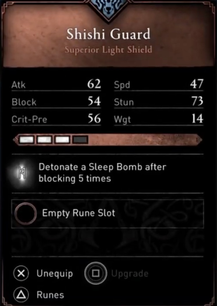 AC Valhalla Best Weapons - Shishi Guard stats