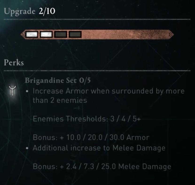 AC Valhalla Build - Brigandine Set Stats