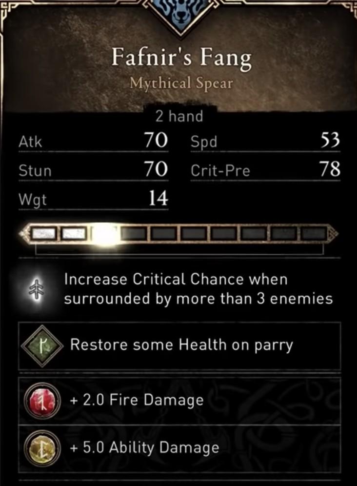 Ac Valhalla Build - Fafnir's Fang Stats