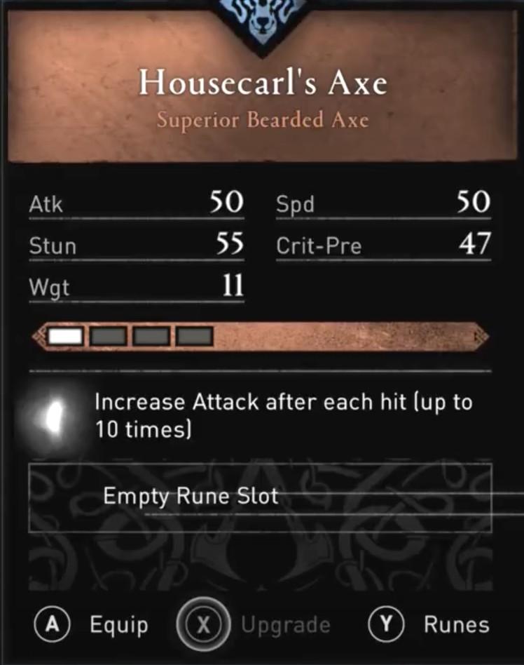 AC Valhalla Build - Housecarl's Axe Stats