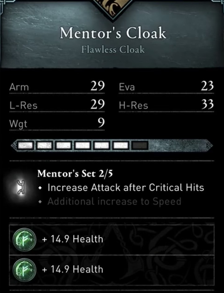 AC Valhalla Build - Mentor's Set Stats