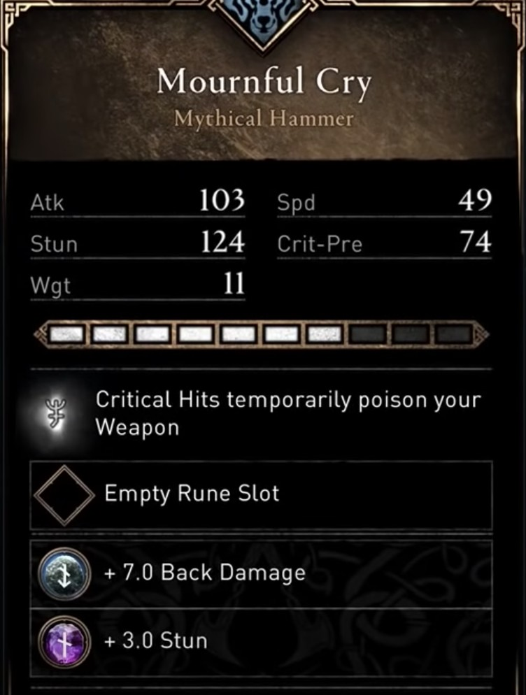 AC Valhalla Build - Mournful Cry Stats