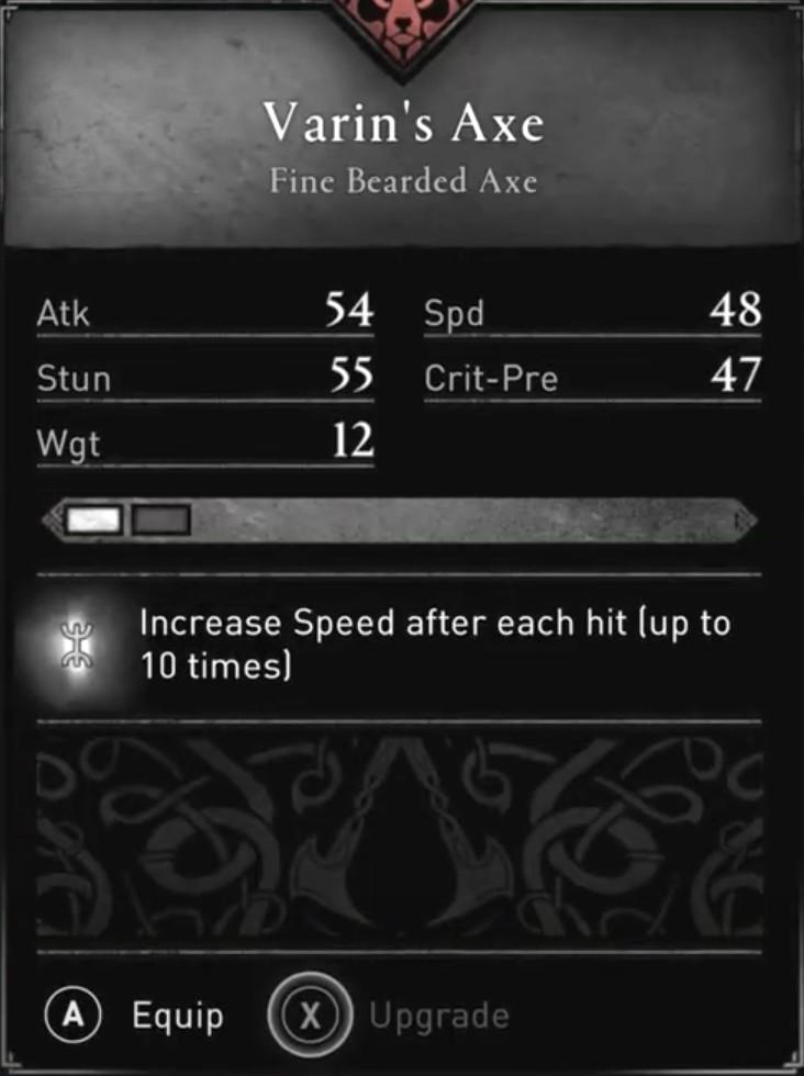 AC Valhalla Build - Varin's Axe Stats
