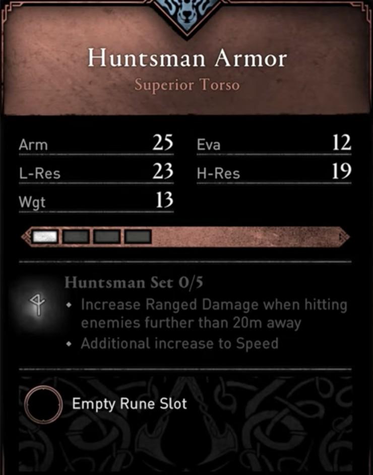 AC Valhalla Huntsman Set - Huntsman Armor Set Stats